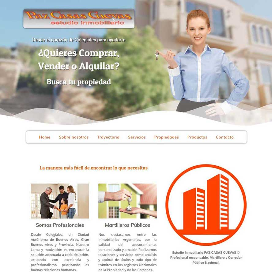 Estudio Inmobiliario PAZ CASAS CUEVAS © Profesional responsable: Martillero y Corredor Público Naciona